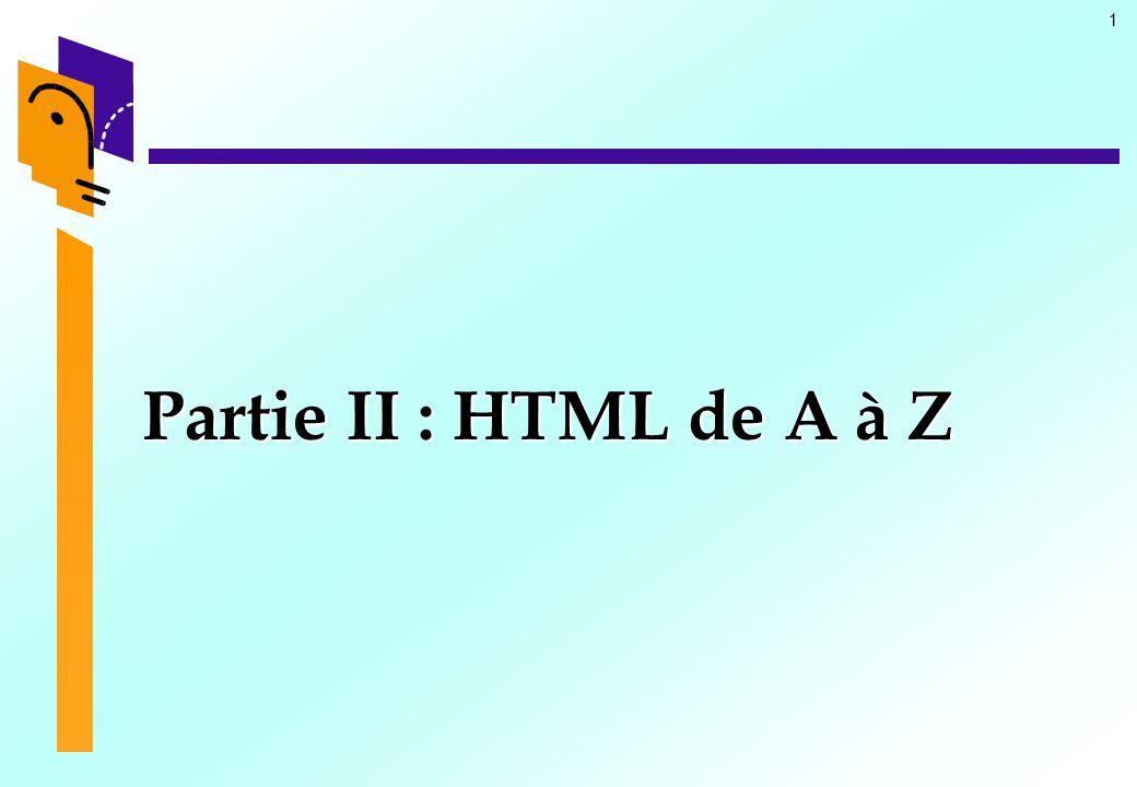 22 HTML : La structure (15) Le corps du document Le corps du document Les attributs Les attributs  ATTRIBUTS DE FOND ET DE COULEUR DE TEXTE –Il est possible par des attributs de déterminer la couleur ou (et) une image de fond pour une page HTML et en outre celle du texte.