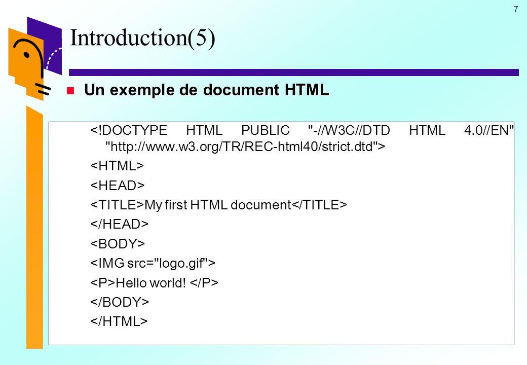 28 HTML : La structure (21) Le corps du document Le corps du document Les attributs Les attributs  Les attributs ONLOAD et UNONLOAD –ONLOAD= Nom d une fonction ouvre une fonction JavaScript à l affichage de la page –ONUNLOAD= Nom d une fonction ouvre une fonction JavaScript à la sortie de la page.