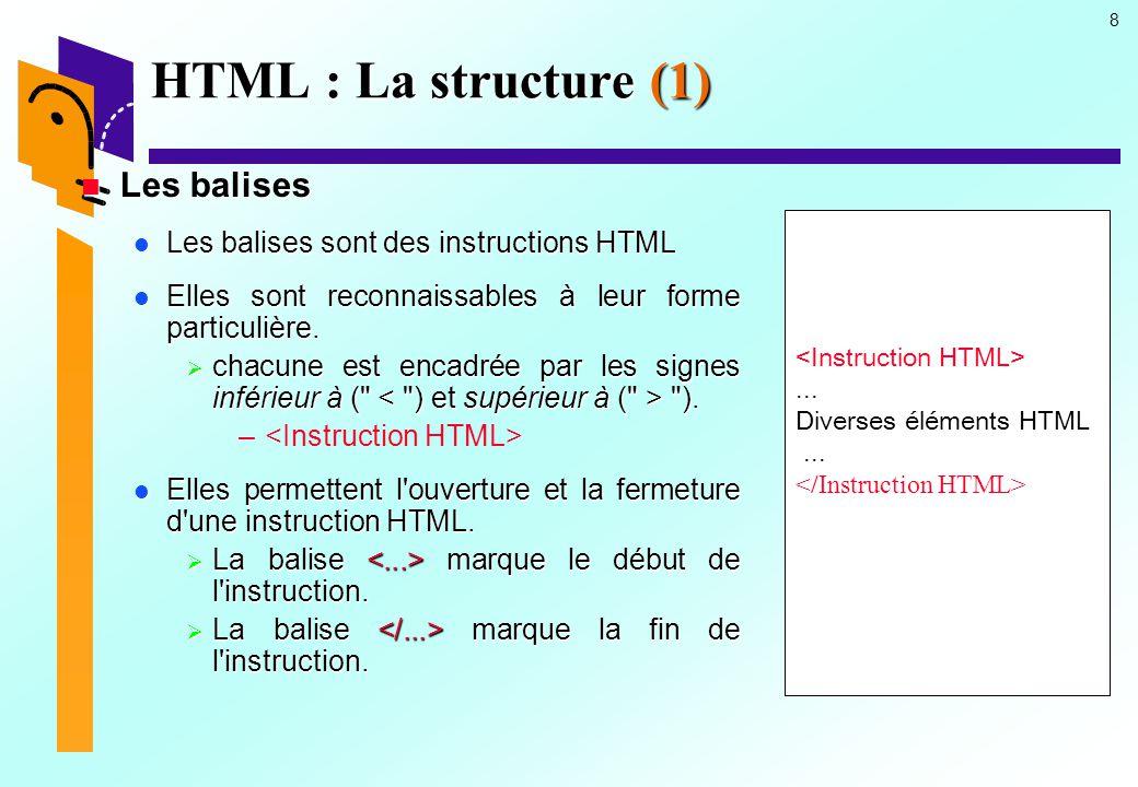 29 HTML : La structure (22) Le corps du document Le corps du document Les commentaires Les commentaires  Les commentaires peuvent être placer partout dans les lignes de programmation sauf à l intérieur d une autre balise.