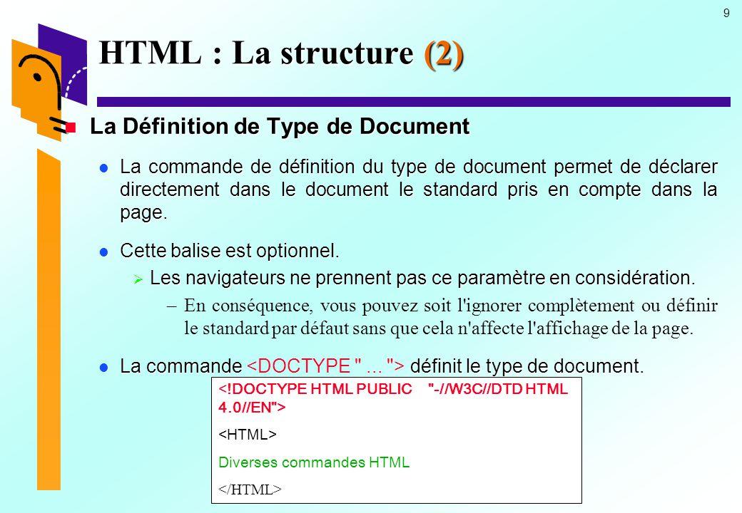 10 HTML : La structure (3) La Définition de Type de Document La Définition de Type de Document Type de documentStandard pris en compte -//IETF//DTD HTML Level 1//EN HTML 1.0 -//IETF//DTD HTML//EN HTML 2.0 -//IETF//DTD HTML 3.0//EN HTML 3.0 -//W3C//DTD HTML 3.2//EN HTML 3.2 -//W3C//DTD HTML 4.0 Transitionnal//EN HTML 4.0 -//W3C//DTD HTML 4.0//EN HTML 4.0 ...