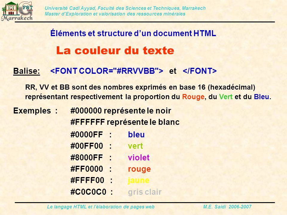 Le langage HTML et l'élaboration de pages web M.E.
