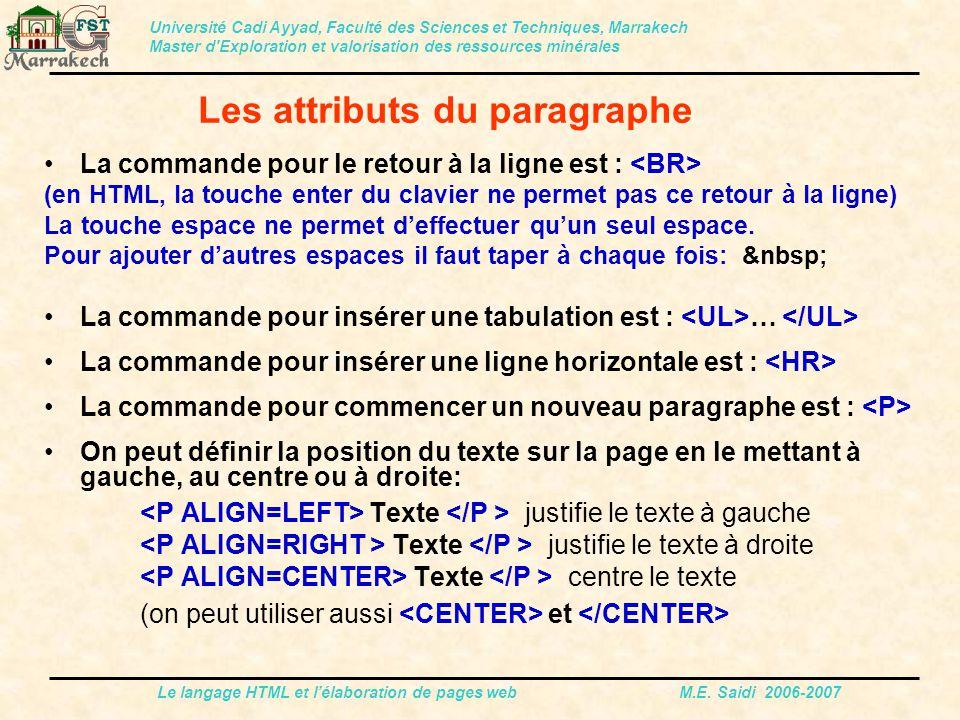 Le langage HTML et l'élaboration de pages web M.E. Saidi 2006-2007 La commande pour le retour à la ligne est : (en HTML, la touche enter du clavier ne