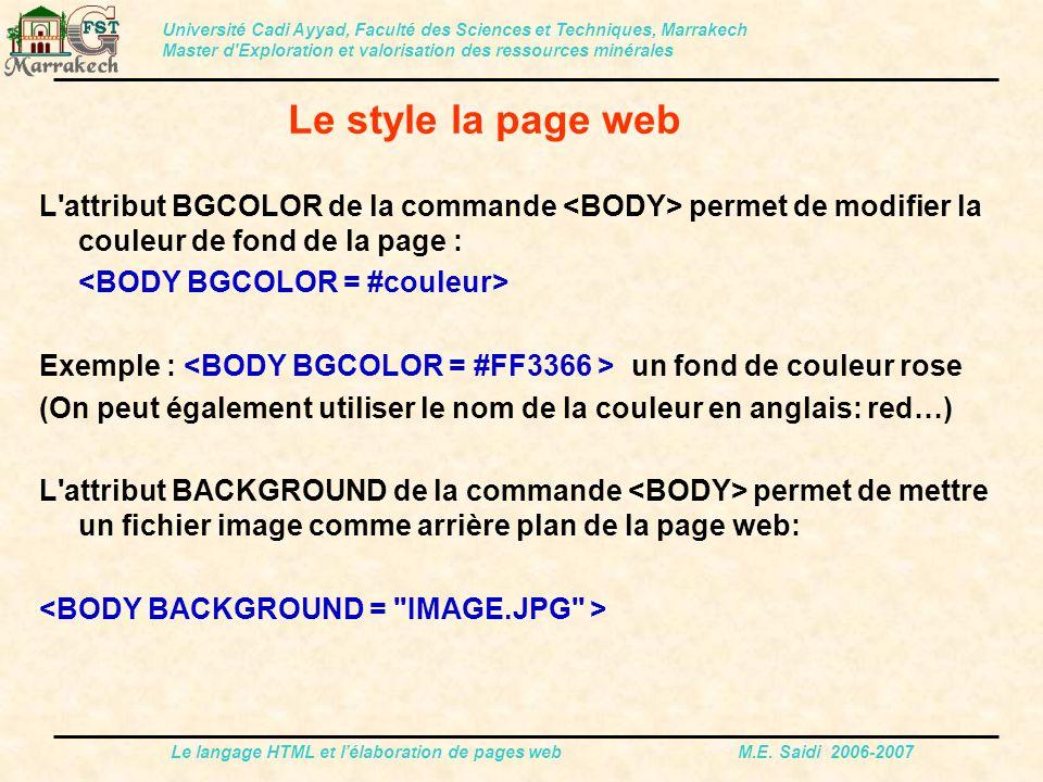 Le langage HTML et l'élaboration de pages web M.E. Saidi 2006-2007 L'attribut BGCOLOR de la commande permet de modifier la couleur de fond de la page