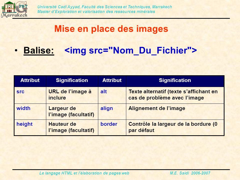 Le langage HTML et l'élaboration de pages web M.E. Saidi 2006-2007 Balise: Université Cadi Ayyad, Faculté des Sciences et Techniques, Marrakech Master