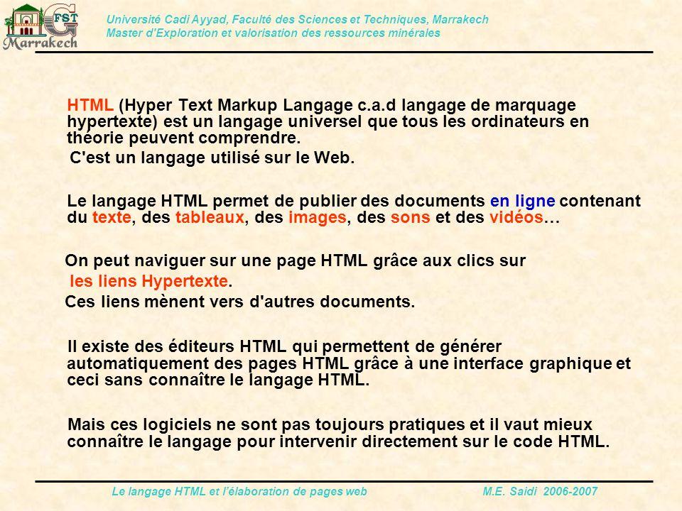 Le langage HTML et l'élaboration de pages web M.E. Saidi 2006-2007 HTML (Hyper Text Markup Langage c.a.d langage de marquage hypertexte) est un langag