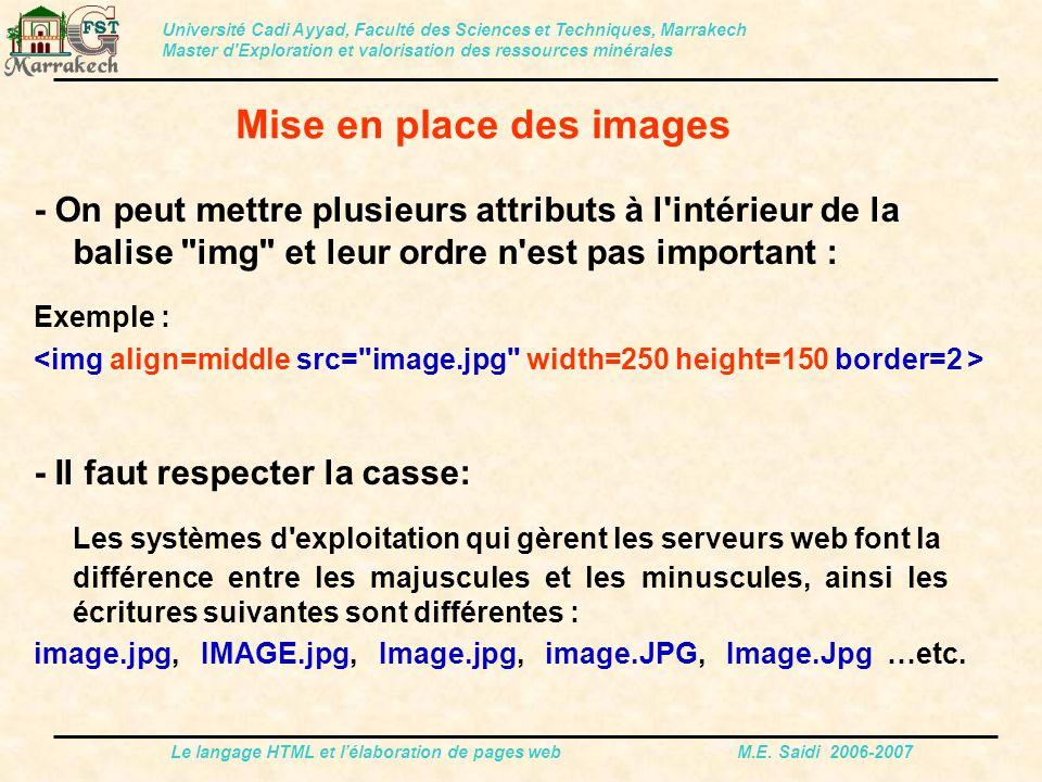 Le langage HTML et l'élaboration de pages web M.E. Saidi 2006-2007 - On peut mettre plusieurs attributs à l'intérieur de la balise