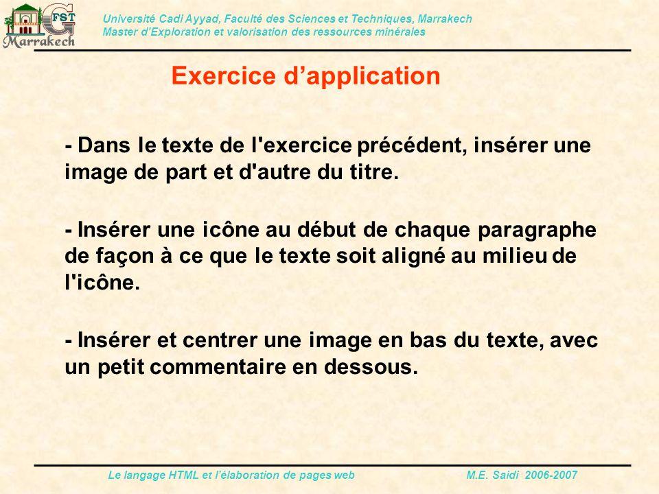 Le langage HTML et l'élaboration de pages web M.E. Saidi 2006-2007 - Dans le texte de l'exercice précédent, insérer une image de part et d'autre du ti