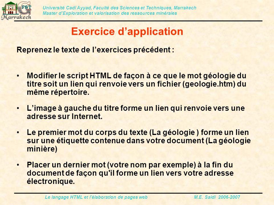 Le langage HTML et l'élaboration de pages web M.E. Saidi 2006-2007 Reprenez le texte de l'exercices précédent : Modifier le script HTML de façon à ce
