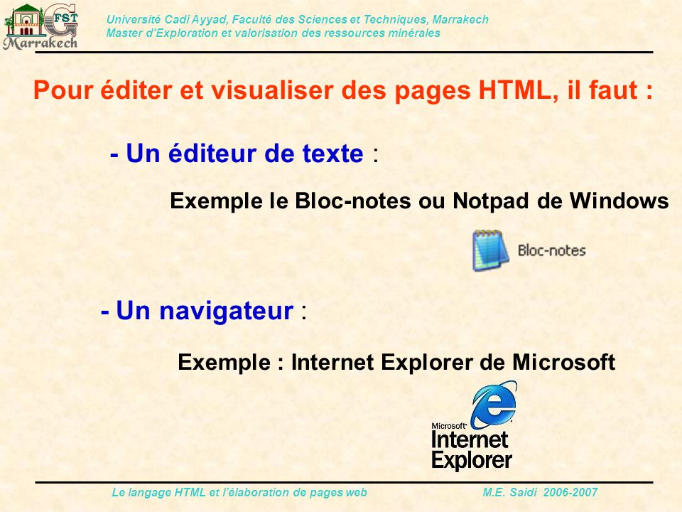 Le langage HTML et l'élaboration de pages web M.E. Saidi 2006-2007 Pour éditer et visualiser des pages HTML, il faut : - Un éditeur de texte : Exemple