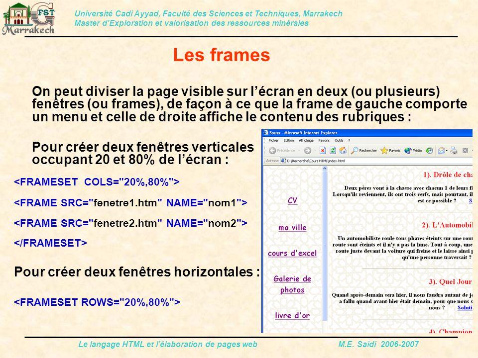 Le langage HTML et l'élaboration de pages web M.E. Saidi 2006-2007 On peut diviser la page visible sur l'écran en deux (ou plusieurs) fenêtres (ou fra