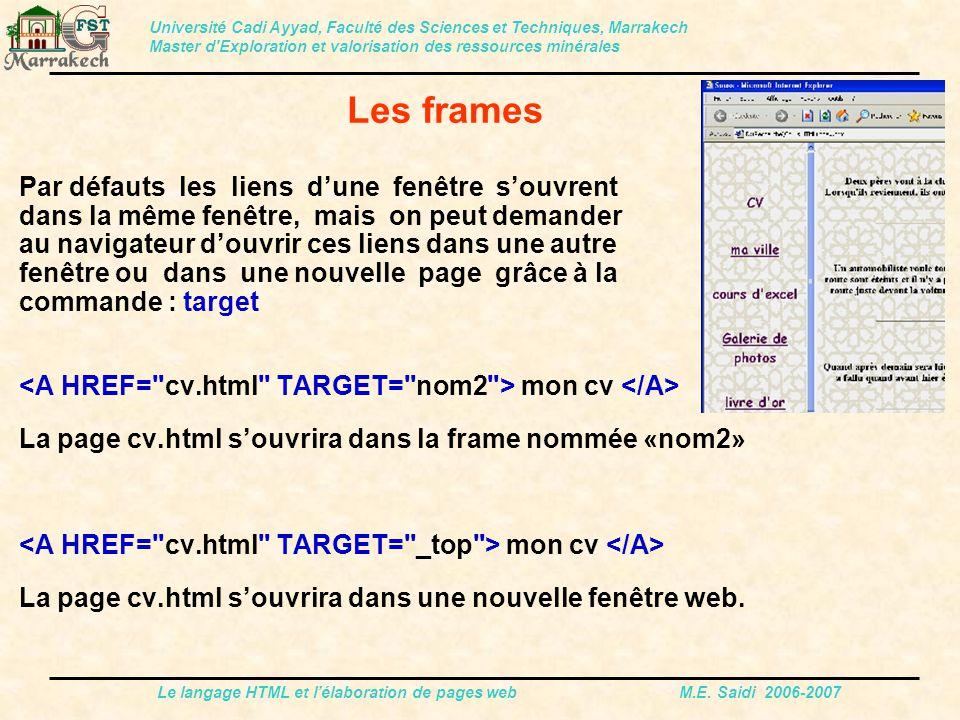 Le langage HTML et l'élaboration de pages web M.E. Saidi 2006-2007 Par défauts les liens d'une fenêtre s'ouvrent dans la même fenêtre, mais on peut de
