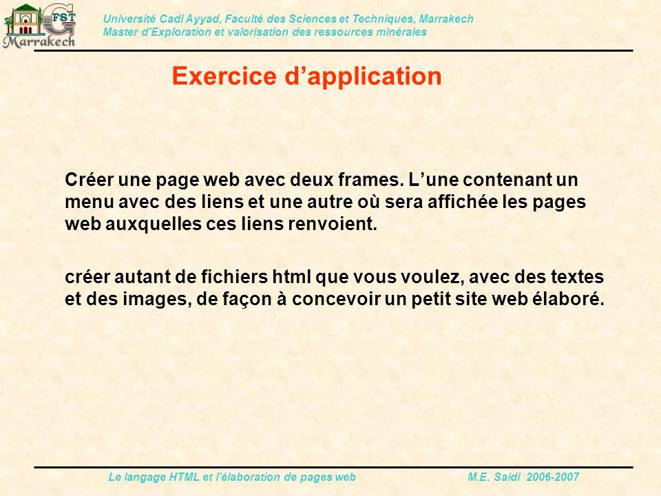 Le langage HTML et l'élaboration de pages web M.E. Saidi 2006-2007 Créer une page web avec deux frames. L'une contenant un menu avec des liens et une