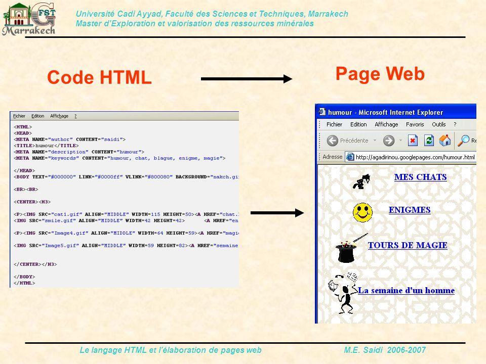 Le langage HTML et l'élaboration de pages web M.E. Saidi 2006-2007 Code HTML Université Cadi Ayyad, Faculté des Sciences et Techniques, Marrakech Mast