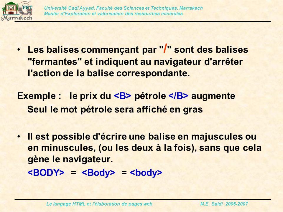 Le langage HTML et l'élaboration de pages web M.E. Saidi 2006-2007 Les balises commençant par