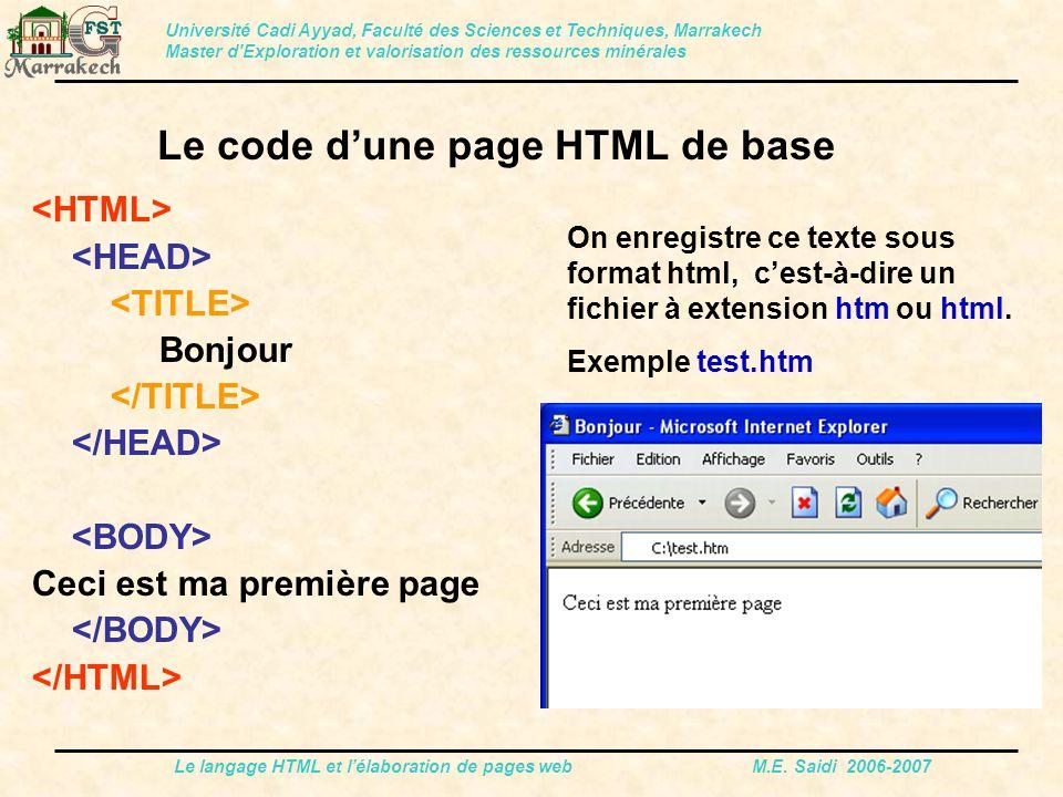 Le langage HTML et l'élaboration de pages web M.E. Saidi 2006-2007 Bonjour Ceci est ma première page Le code d'une page HTML de base Université Cadi A