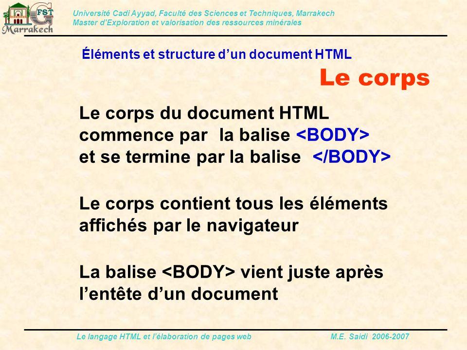 Le langage HTML et l'élaboration de pages web M.E. Saidi 2006-2007 Université Cadi Ayyad, Faculté des Sciences et Techniques, Marrakech Master d'Explo