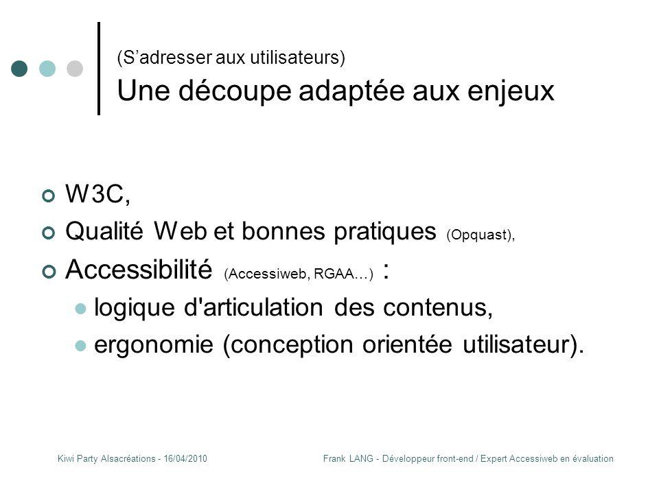 Frank LANG - Développeur front-end / Expert Accessiweb en évaluationKiwi Party Alsacréations - 16/04/2010 (S'adresser aux utilisateurs) Une découpe adaptée aux enjeux W3C, Qualité Web et bonnes pratiques (Opquast), Accessibilité (Accessiweb, RGAA…) : logique d articulation des contenus, ergonomie (conception orientée utilisateur).