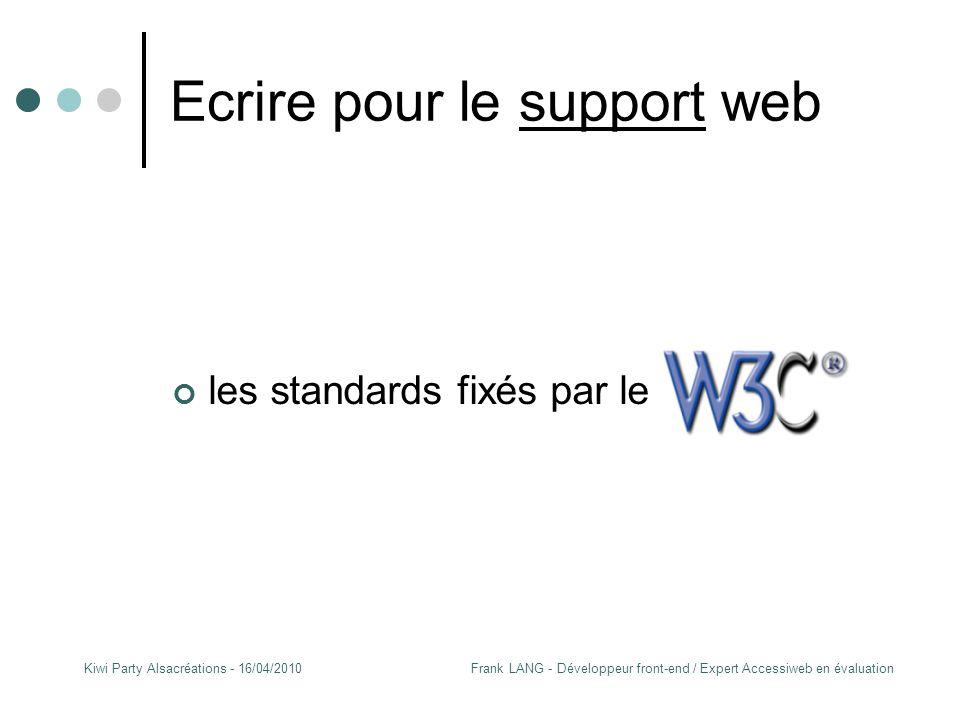 Frank LANG - Développeur front-end / Expert Accessiweb en évaluationKiwi Party Alsacréations - 16/04/2010 Ecrire pour le support web les standards fixés par le W3C