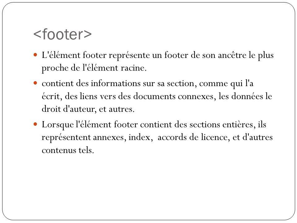 L élément footer représente un footer de son ancêtre le plus proche de l élément racine.