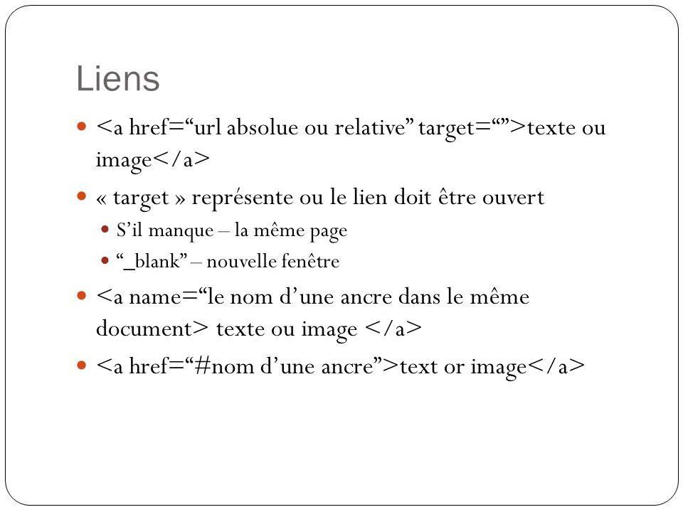 Liens texte ou image « target » représente ou le lien doit être ouvert S'il manque – la même page _blank – nouvelle fenêtre texte ou image text or image