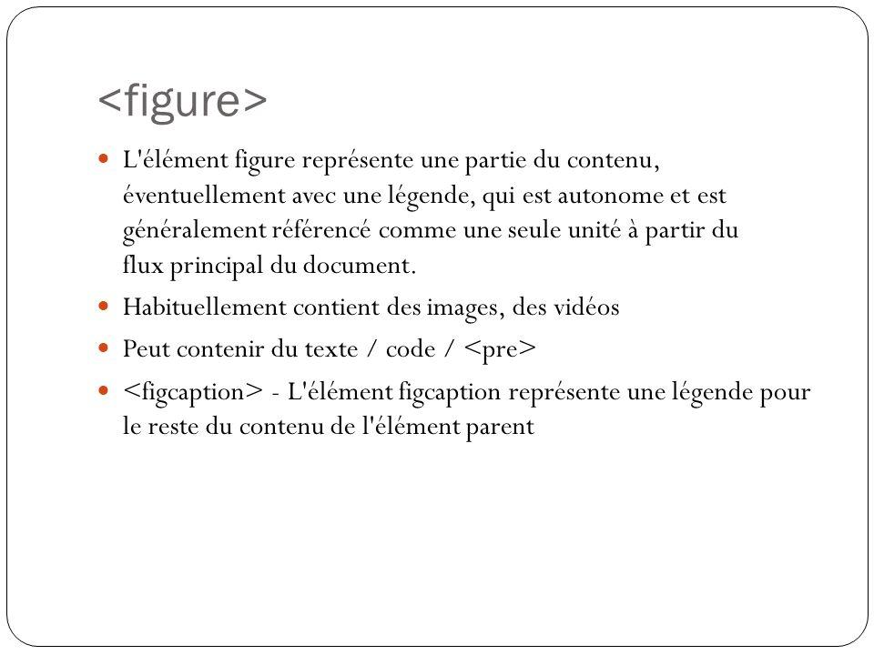 L élément figure représente une partie du contenu, éventuellement avec une légende, qui est autonome et est généralement référencé comme une seule unité à partir du flux principal du document.