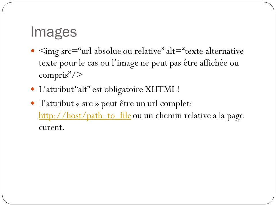 Images L'attribut alt est obligatoire XHTML.