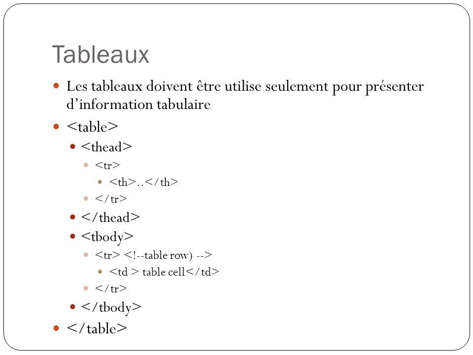 Tableaux Les tableaux doivent être utilise seulement pour présenter d'information tabulaire..
