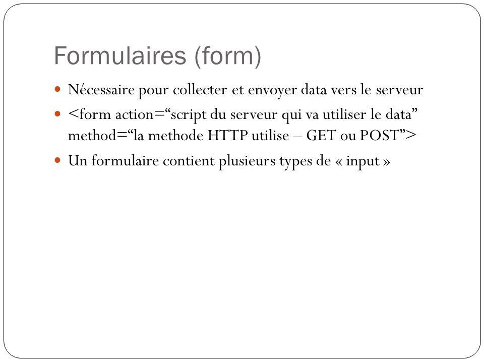 Formulaires (form) Nécessaire pour collecter et envoyer data vers le serveur Un formulaire contient plusieurs types de « input »