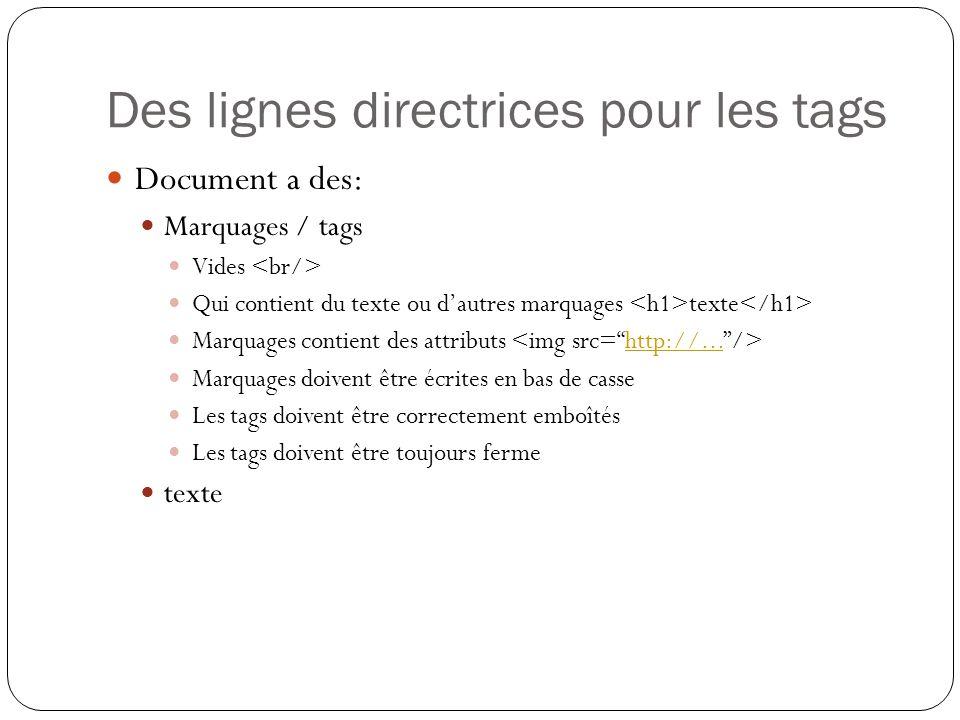 Des lignes directrices pour les tags Document a des: Marquages / tags Vides Qui contient du texte ou d'autres marquages texte Marquages contient des attributs http://...
