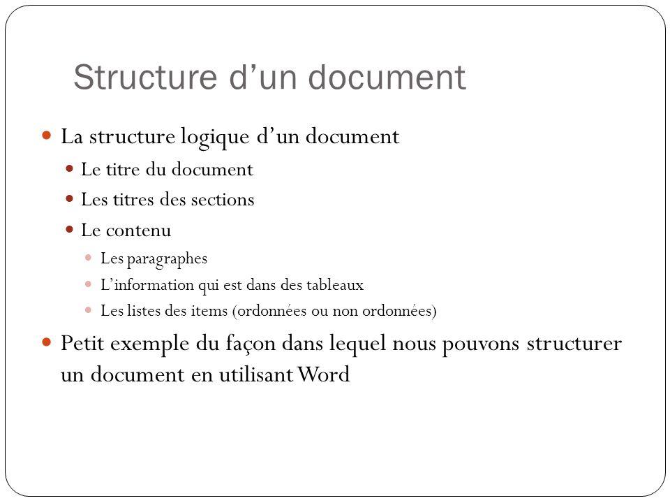 Structure d'un document La structure logique d'un document Le titre du document Les titres des sections Le contenu Les paragraphes L'information qui est dans des tableaux Les listes des items (ordonnées ou non ordonnées) Petit exemple du façon dans lequel nous pouvons structurer un document en utilisant Word