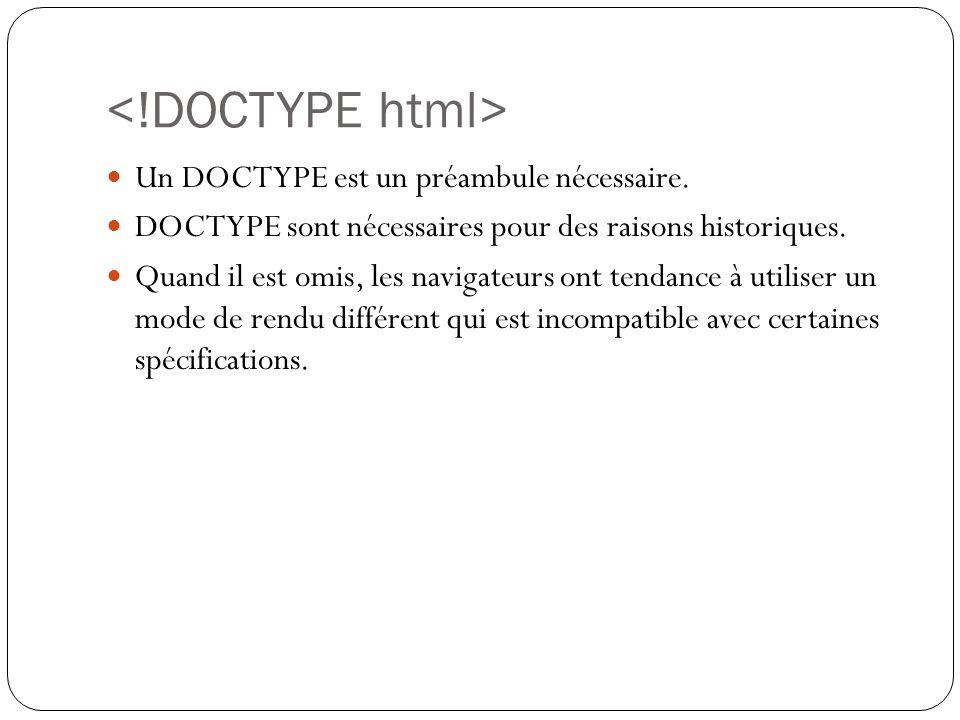 Un DOCTYPE est un préambule nécessaire.DOCTYPE sont nécessaires pour des raisons historiques.