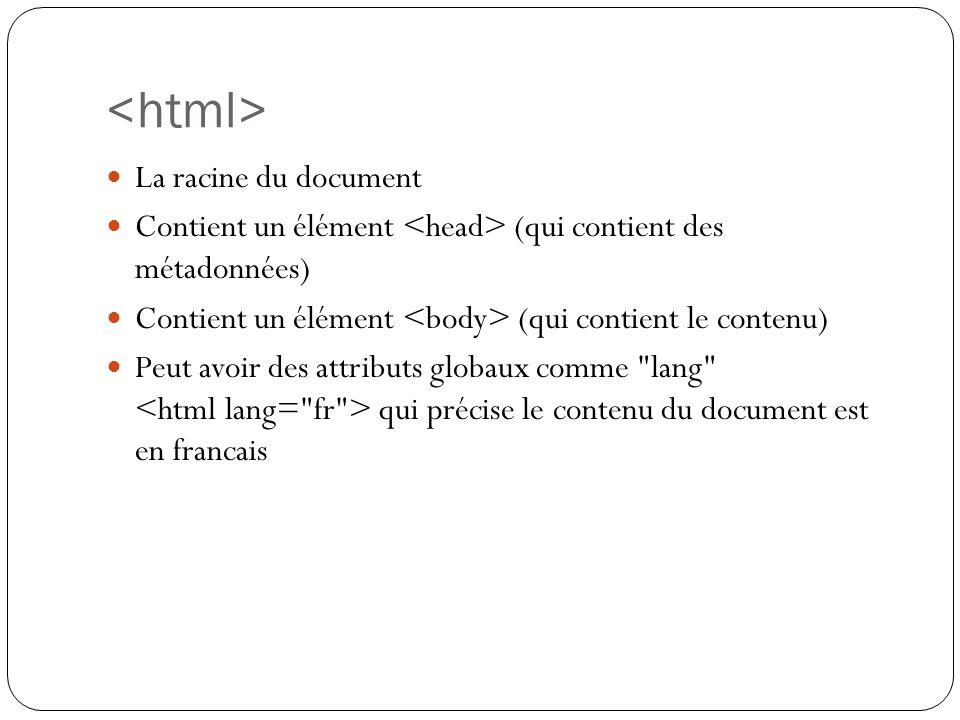 La racine du document Contient un élément (qui contient des métadonnées) Contient un élément (qui contient le contenu) Peut avoir des attributs globaux comme lang qui précise le contenu du document est en francais