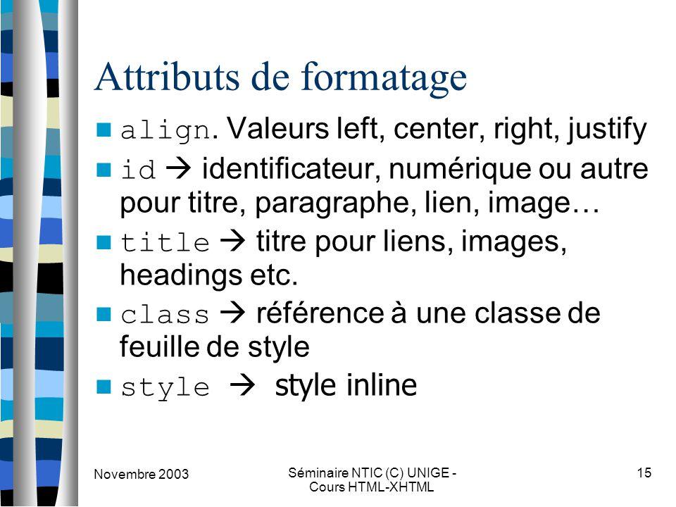 Novembre 2003 Séminaire NTIC (C) UNIGE - Cours HTML-XHTML 15 Attributs de formatage align. Valeurs left, center, right, justify id  identificateur, n