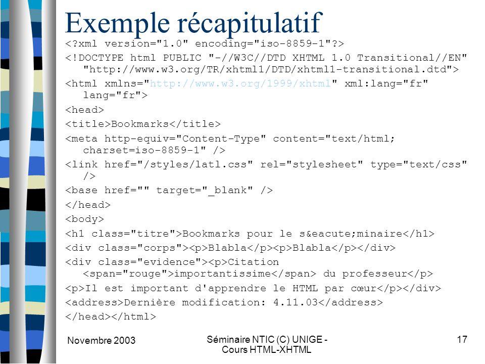 Novembre 2003 Séminaire NTIC (C) UNIGE - Cours HTML-XHTML 17 Exemple récapitulatif Bookmarks Bookmarks pour le séminaire Blabla Blabla Citation importantissime du professeur Il est important d apprendre le HTML par cœur Dernière modification: 4.11.03