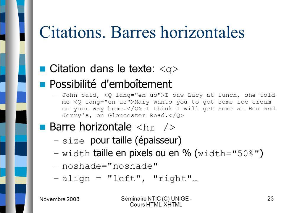 Novembre 2003 Séminaire NTIC (C) UNIGE - Cours HTML-XHTML 23 Citations. Barres horizontales Citation dans le texte: Possibilité d'emboîtement –John sa