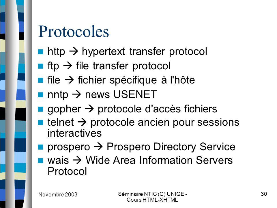 Novembre 2003 Séminaire NTIC (C) UNIGE - Cours HTML-XHTML 30 Protocoles http  hypertext transfer protocol ftp  file transfer protocol file  fichier