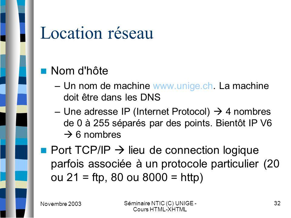 Novembre 2003 Séminaire NTIC (C) UNIGE - Cours HTML-XHTML 32 Location réseau Nom d'hôte –Un nom de machine www.unige.ch. La machine doit être dans les