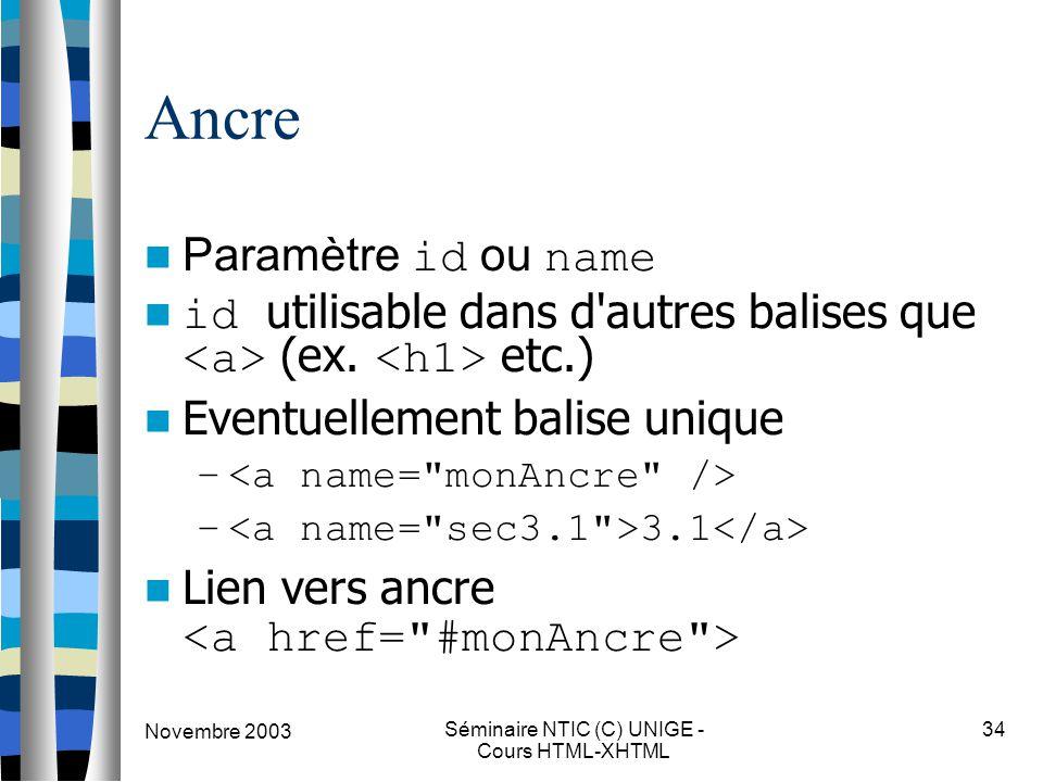 Novembre 2003 Séminaire NTIC (C) UNIGE - Cours HTML-XHTML 34 Ancre Paramètre id ou name id utilisable dans d autres balises que (ex.