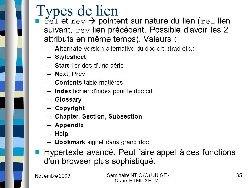Novembre 2003 Séminaire NTIC (C) UNIGE - Cours HTML-XHTML 35 Types de lien rel et rev  pointent sur nature du lien ( rel lien suivant, rev lien précé