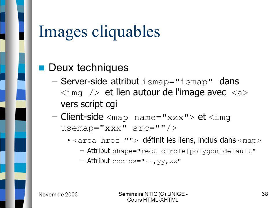 Novembre 2003 Séminaire NTIC (C) UNIGE - Cours HTML-XHTML 38 Images cliquables Deux techniques –Server-side attribut ismap= ismap dans et lien autour de l image avec vers script cgi –Client-side et définit les liens, inclus dans –Attribut shape= rect|circle|polygon|default –Attribut coords= xx,yy,zz
