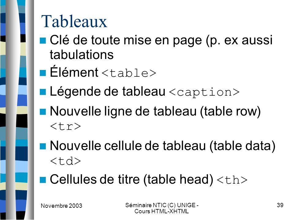 Novembre 2003 Séminaire NTIC (C) UNIGE - Cours HTML-XHTML 39 Tableaux Clé de toute mise en page (p. ex aussi tabulations Élément Légende de tableau No