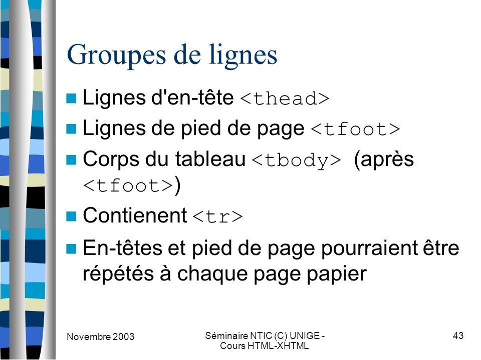 Novembre 2003 Séminaire NTIC (C) UNIGE - Cours HTML-XHTML 43 Groupes de lignes Lignes d'en-tête Lignes de pied de page Corps du tableau (après ) Conti
