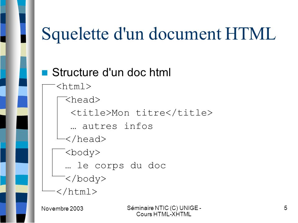 Novembre 2003 Séminaire NTIC (C) UNIGE - Cours HTML-XHTML 5 Squelette d un document HTML Structure d un doc html Mon titre … autres infos … le corps du doc