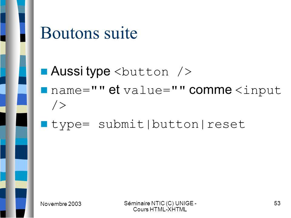 Novembre 2003 Séminaire NTIC (C) UNIGE - Cours HTML-XHTML 53 Boutons suite Aussi type name= et value= comme type= submit|button|reset