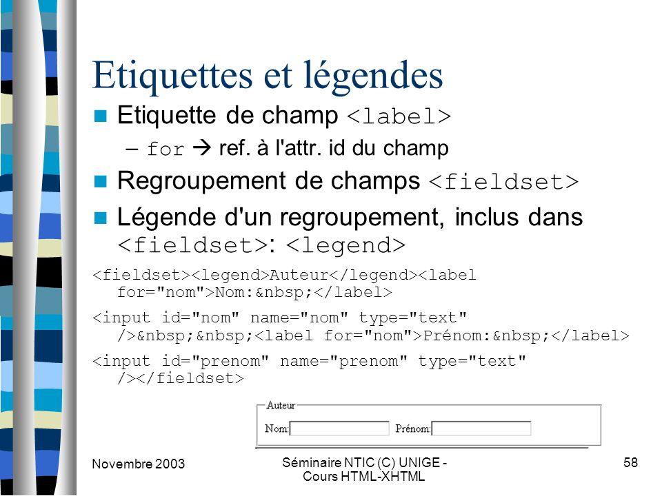Novembre 2003 Séminaire NTIC (C) UNIGE - Cours HTML-XHTML 58 Etiquettes et légendes Etiquette de champ – for  ref. à l'attr. id du champ Regroupement