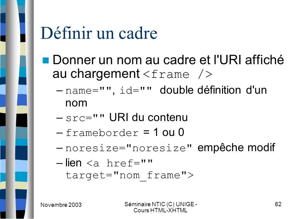 Novembre 2003 Séminaire NTIC (C) UNIGE - Cours HTML-XHTML 62 Définir un cadre Donner un nom au cadre et l'URI affiché au chargement – name=