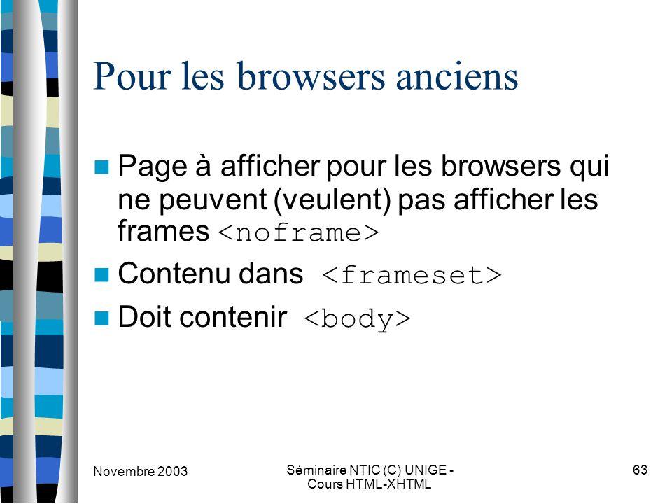 Novembre 2003 Séminaire NTIC (C) UNIGE - Cours HTML-XHTML 63 Pour les browsers anciens Page à afficher pour les browsers qui ne peuvent (veulent) pas