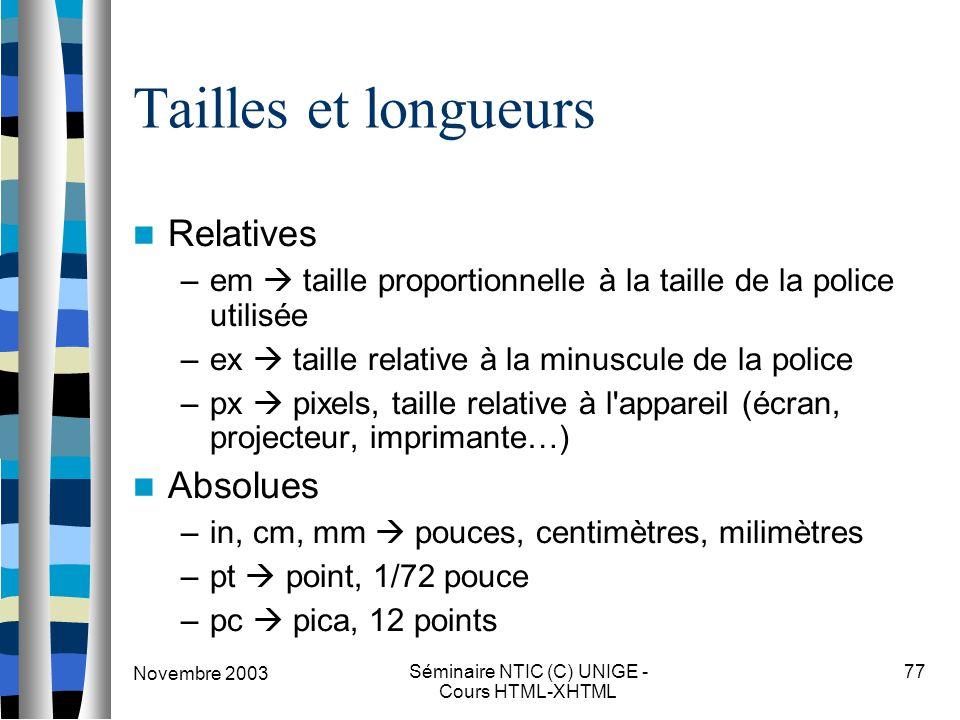 Novembre 2003 Séminaire NTIC (C) UNIGE - Cours HTML-XHTML 77 Tailles et longueurs Relatives –em  taille proportionnelle à la taille de la police util
