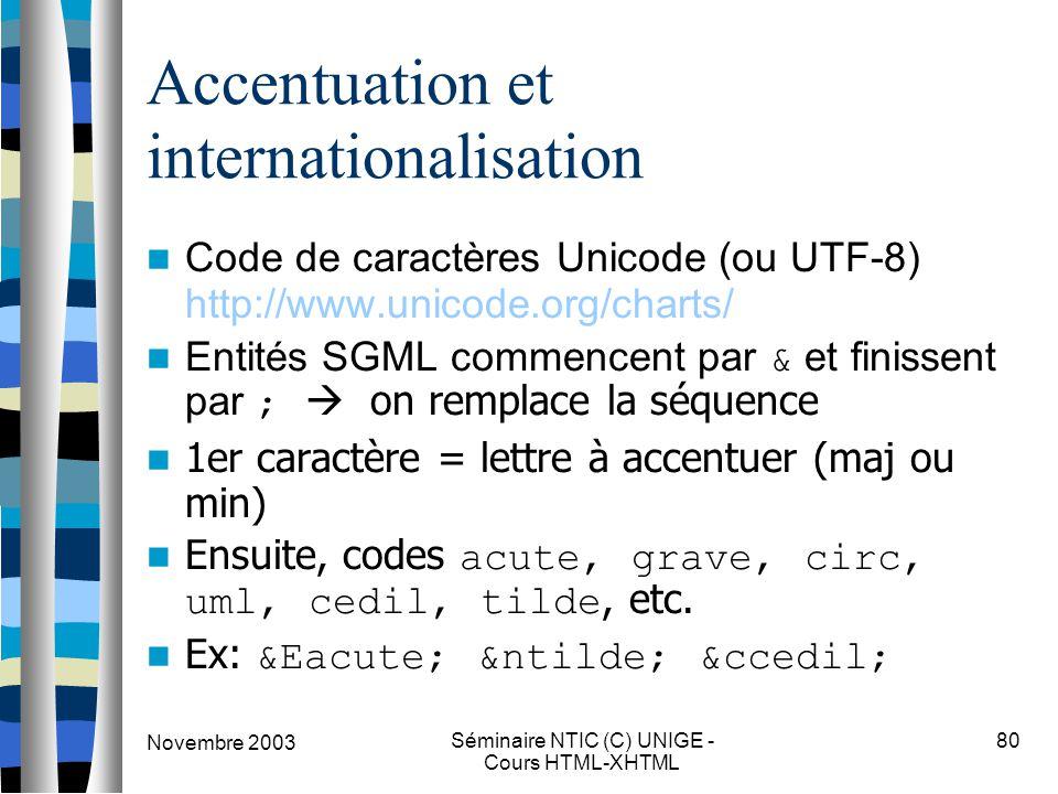 Novembre 2003 Séminaire NTIC (C) UNIGE - Cours HTML-XHTML 80 Accentuation et internationalisation Code de caractères Unicode (ou UTF-8) http://www.unicode.org/charts/ Entités SGML commencent par & et finissent par ;  on remplace la séquence 1er caractère = lettre à accentuer (maj ou min) Ensuite, codes acute, grave, circ, uml, cedil, tilde, etc.