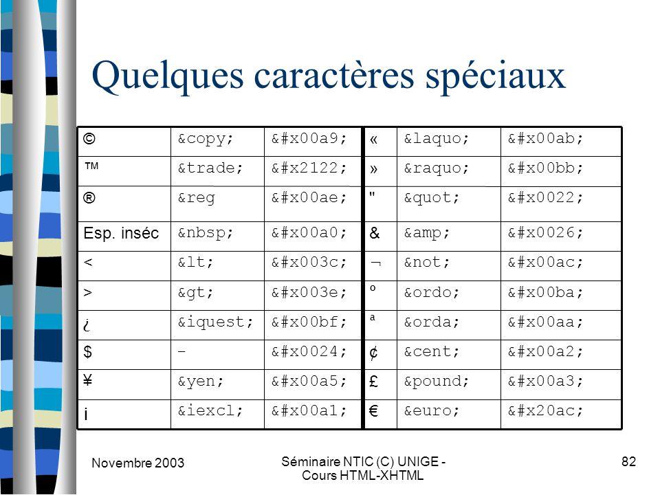 Novembre 2003 Séminaire NTIC (C) UNIGE - Cours HTML-XHTML 82 Quelques caractères spéciaux ¢¢ ¢ $- $ ££ £ ¥¥